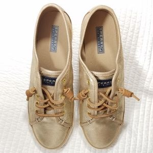 Sperry shoes crest side slip on gold leather 9.5 M